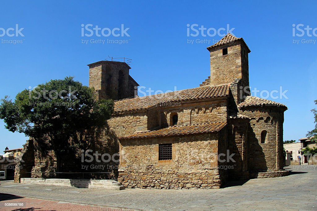Church of Sant Pere, Ullastret, Girona,Spain stock photo