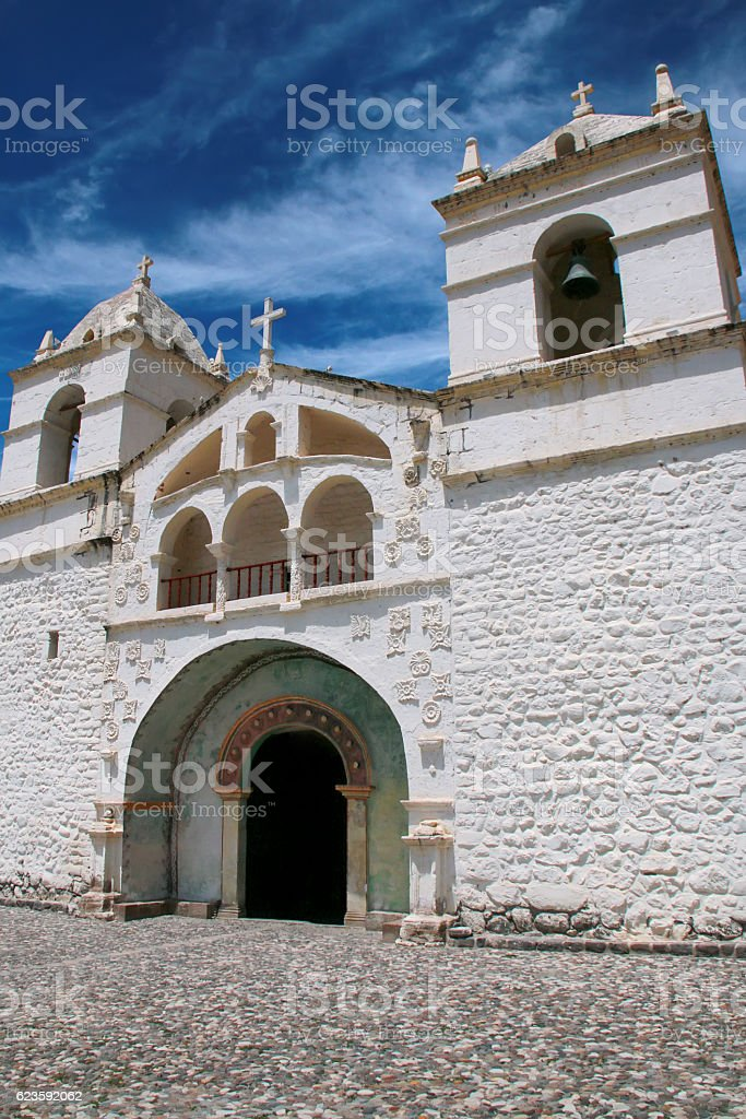 Church of Santa Ana in Maca, Colca Canyon, Peru stock photo