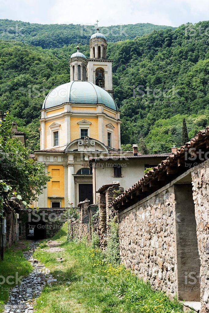 Church of Santa Croce at Riva San Vitale stock photo