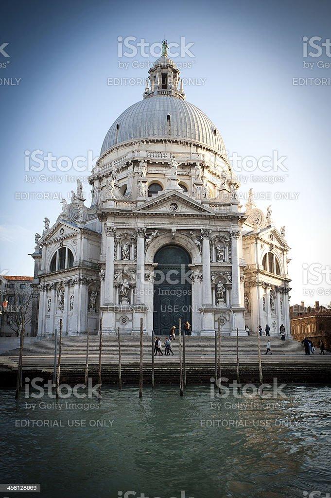 Church of Santa Maria della Salute in Venice at sunset stock photo