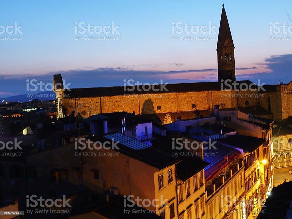 Church of Santa Maria Novella at sunset, Florence, Italy stock photo