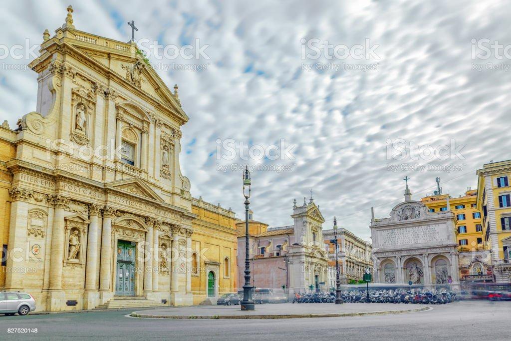 Church of Santa Susanna at the Baths of Diocletian (Chiesa di Santa Susanna alle Terme di Diocleziano) and Happy Water Fountain. Rome. stock photo