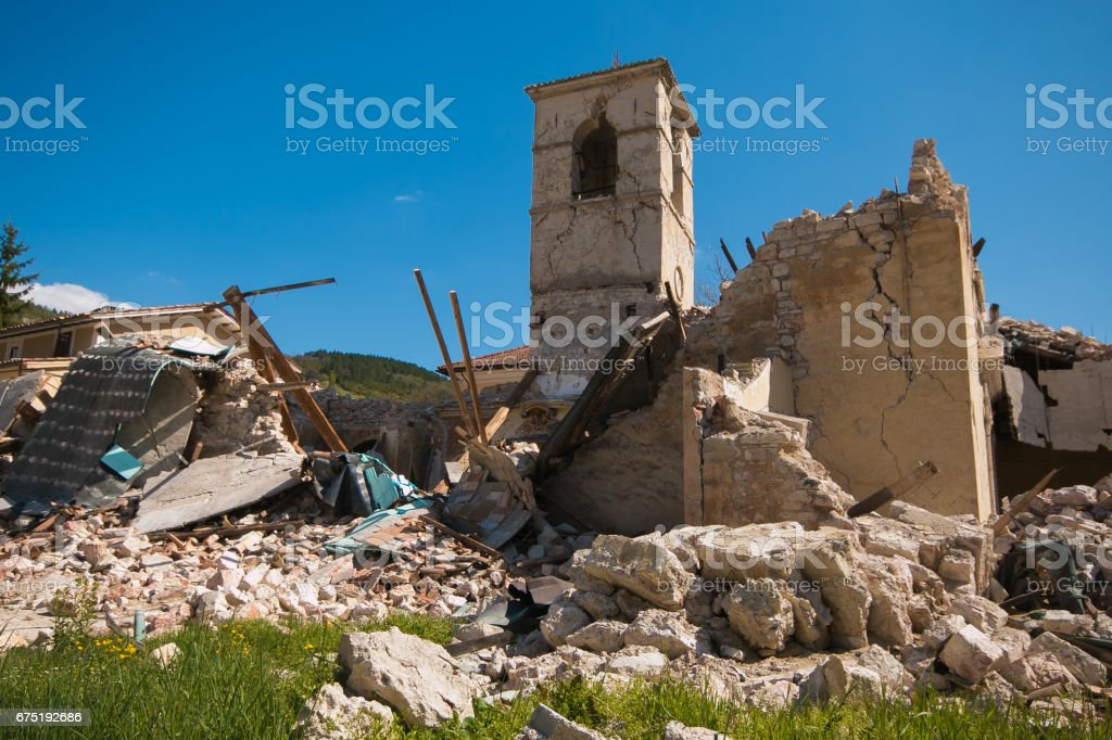 Church of Sant'Antonio Abate collapsed in the historic center of Visso stock photo