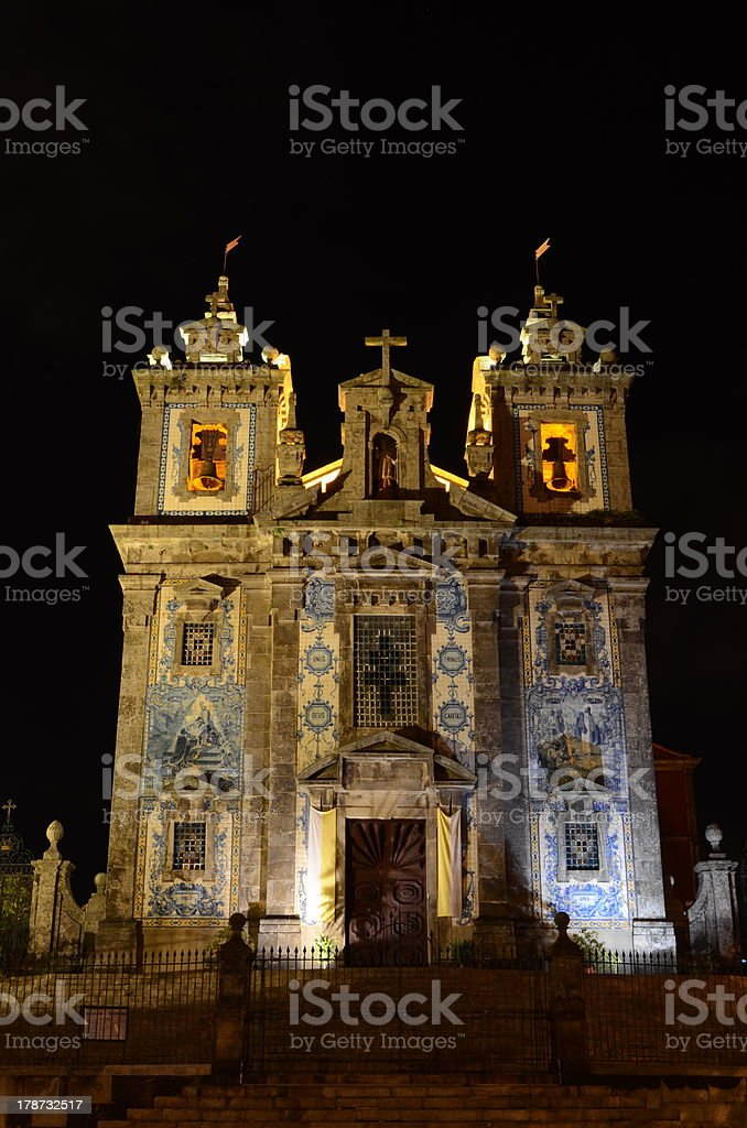 Church of Santo Ildefonso by night in Porto, Portugal royalty-free stock photo