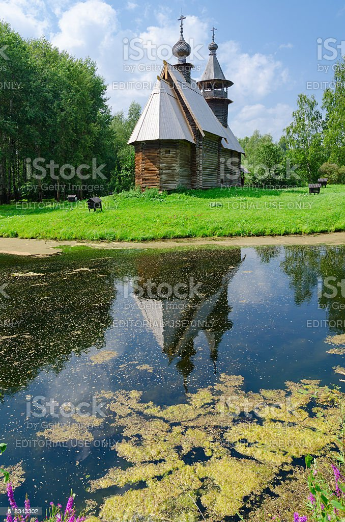 Church of Savior from village Fominskoe, Kostroma, Russia stock photo