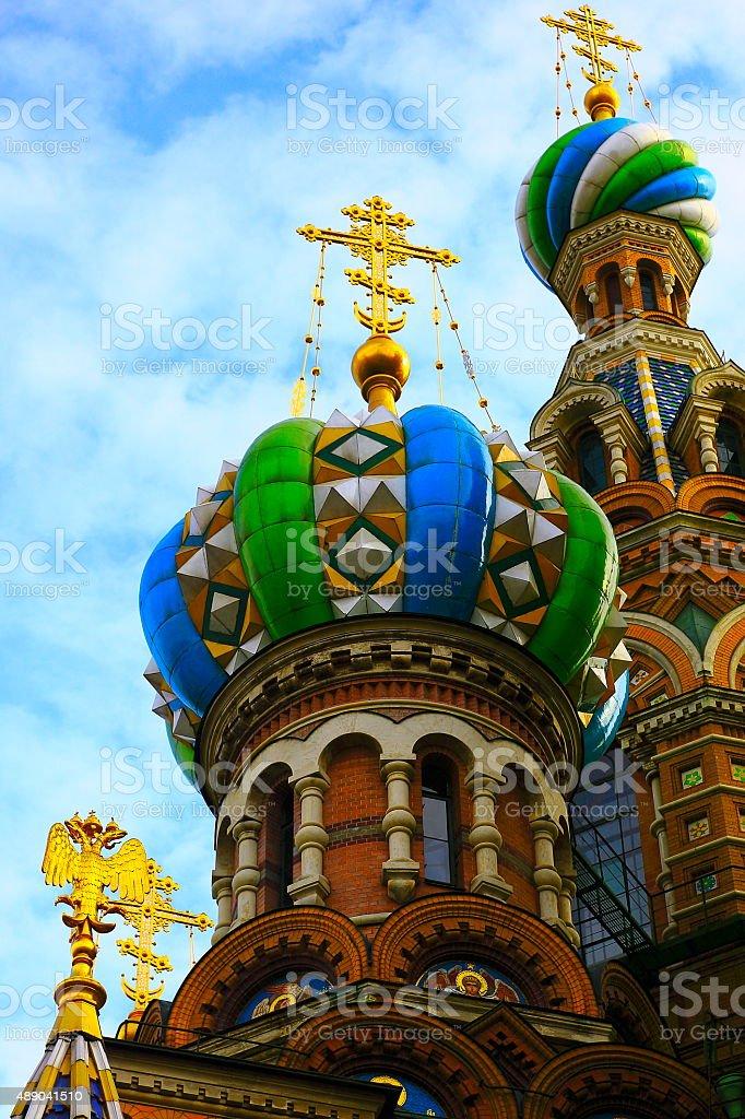 Church of Savior on Spilled Blood gold cupolas, St. Petersburg stock photo