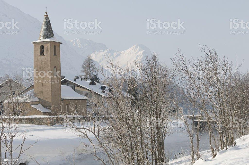 Church of Sils-Baselgia stock photo