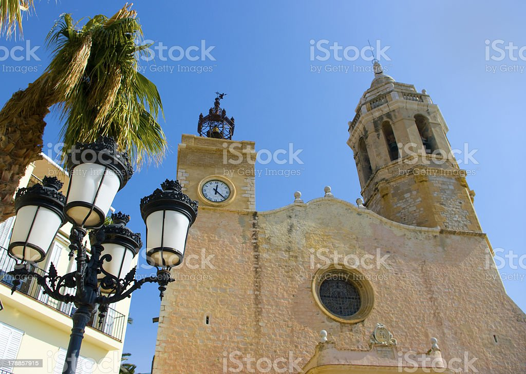 Church of Sitges.Catalonia.Spain stock photo