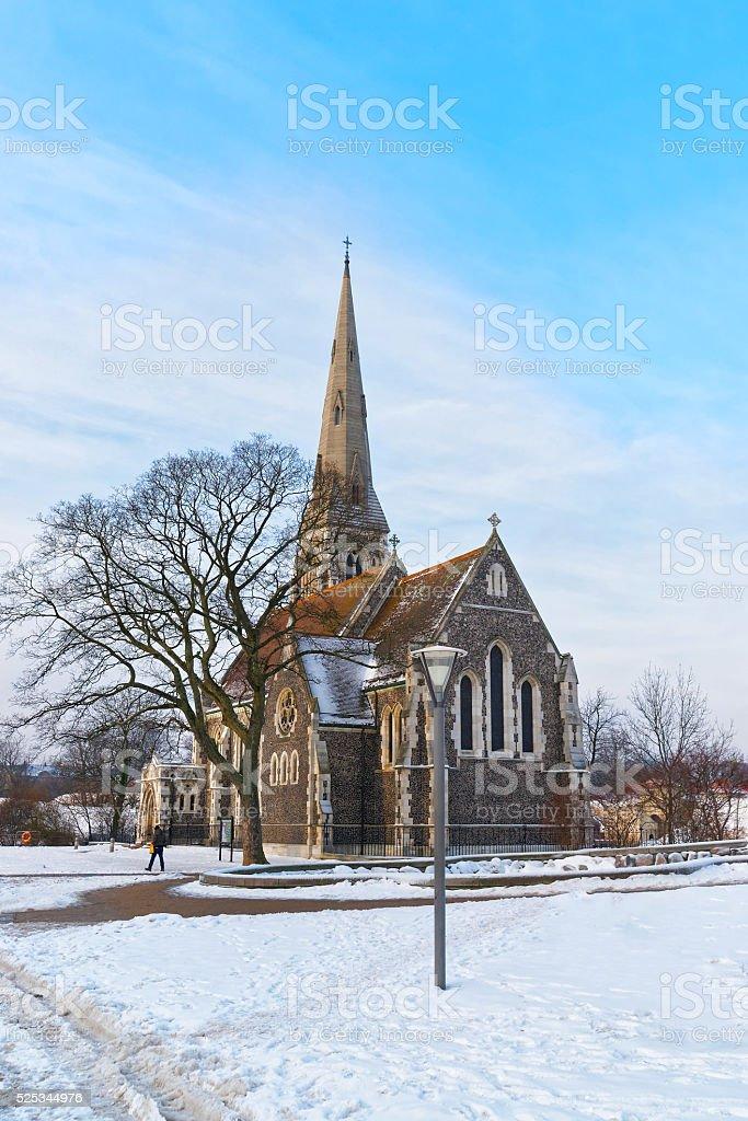 Church of St Alban in winter Copenhagen stock photo