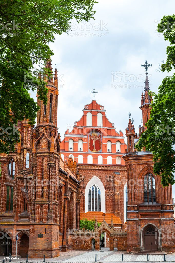 Church of St. Anne and church of the Bernardine in Vilnius, Lithuania stock photo