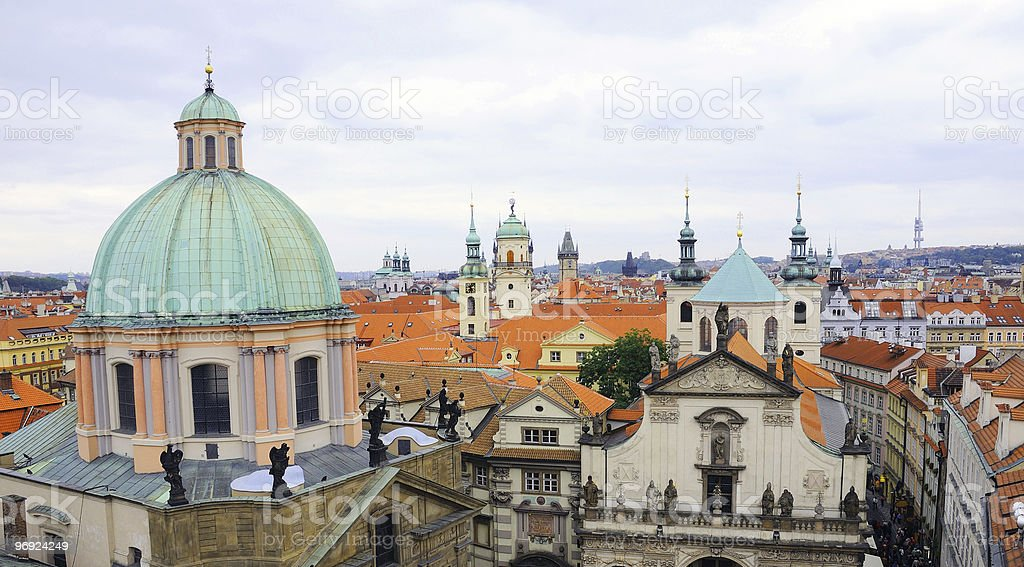 Church of St Francis and Klementinum in Prague stock photo
