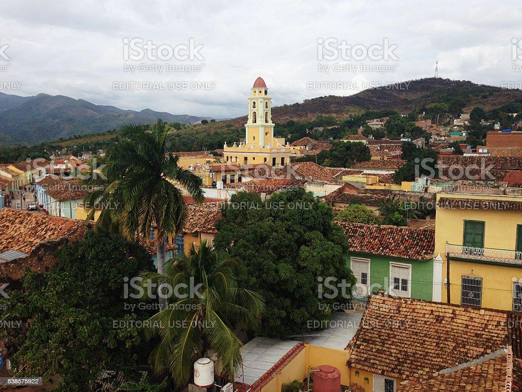 Church of St. Francis in the Plaza Mayor of Trinidad, Cuba stock photo
