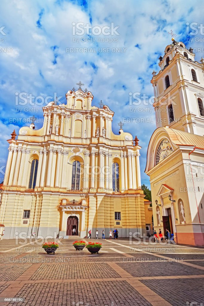 Church of St John and belfry at Vilnius University stock photo