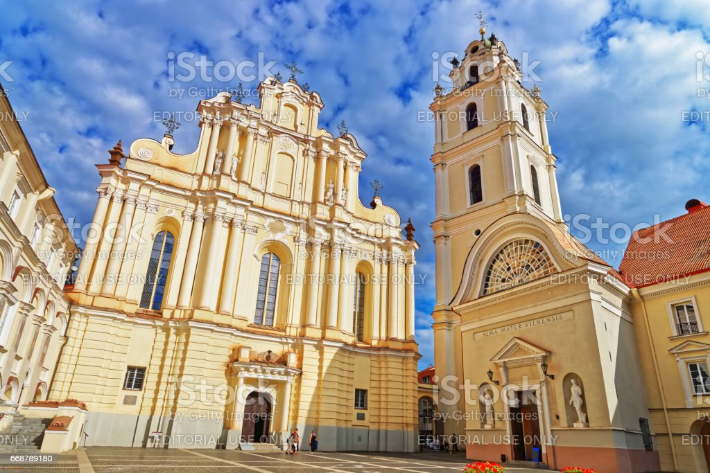 Church of St John and bell tower at Vilnius University stock photo