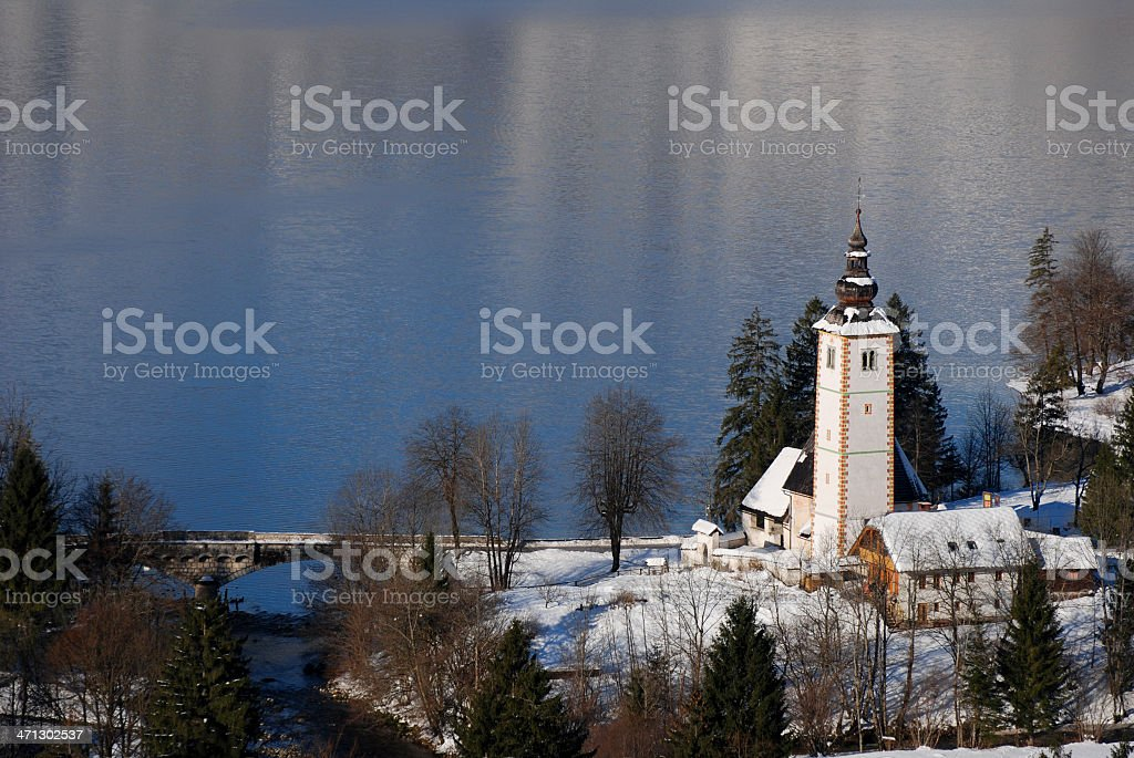 Church of St. john by Lake Bohinj stock photo
