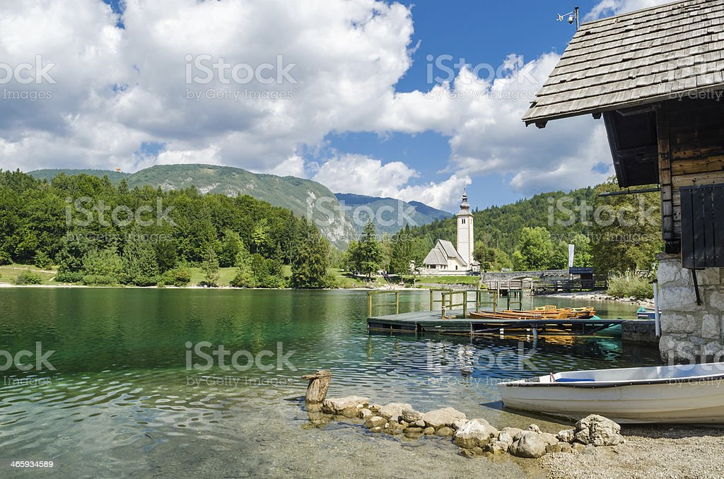 Church of St John the Baptist, Bohinj Lake, Slovenia stock photo