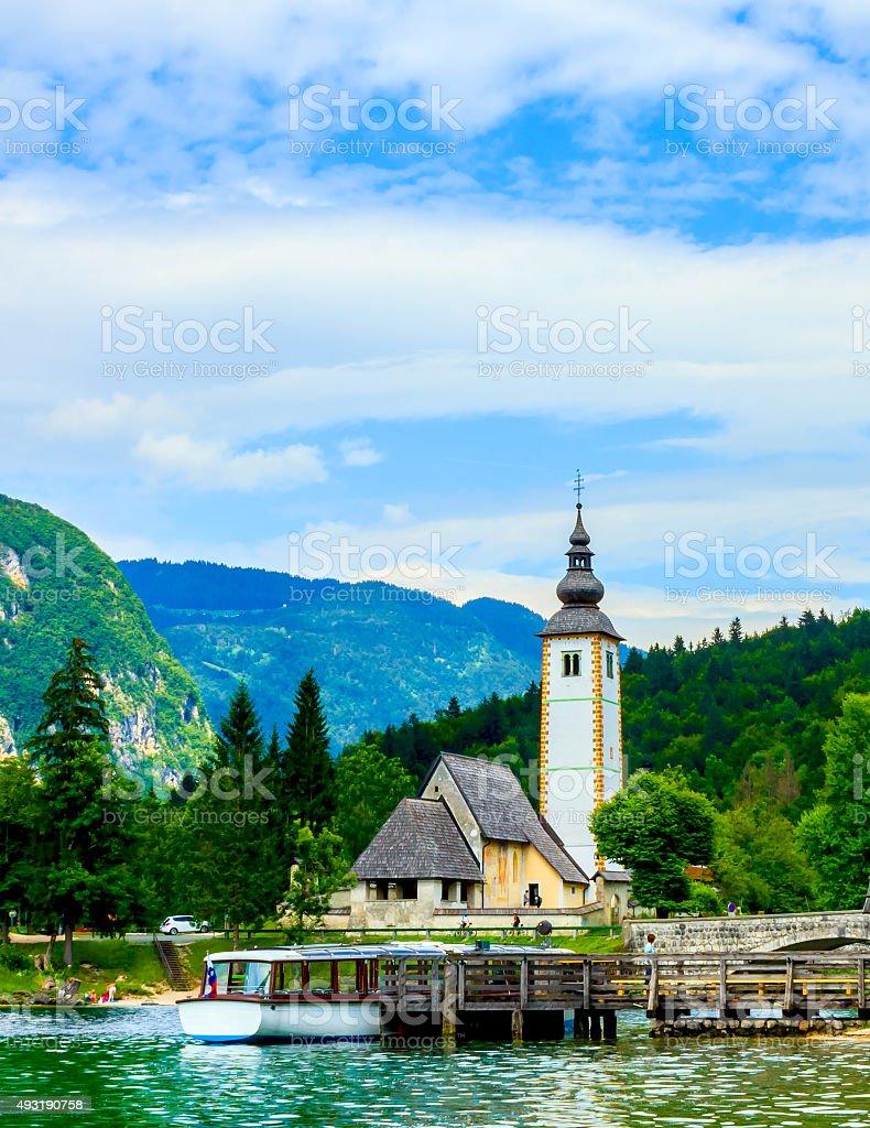 Church of St John the Baptist, Bohinj Lake, Slovenia stock photo