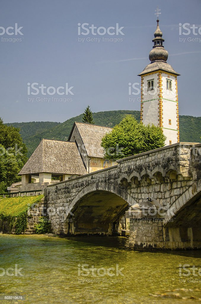 Church of St John the Baptist, Bohinj Lake, Slovenia royalty-free stock photo