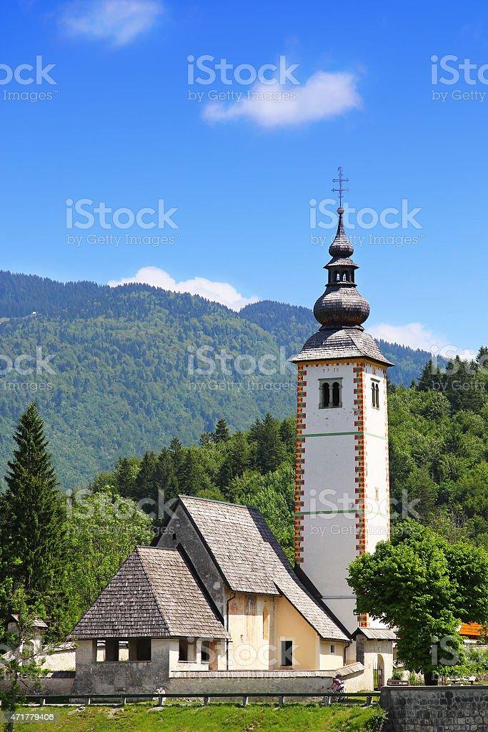 Church of St. John the Baptist near Bohinj Lake, Slovenia stock photo