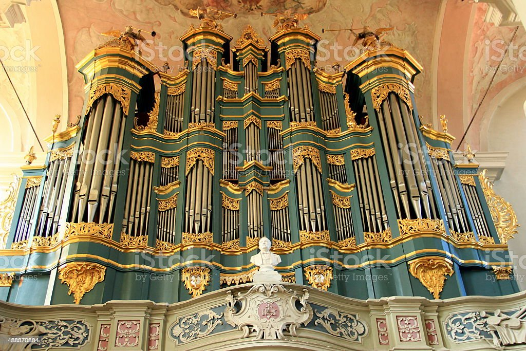 Church of St. Johns at Vilnius. The organ stock photo
