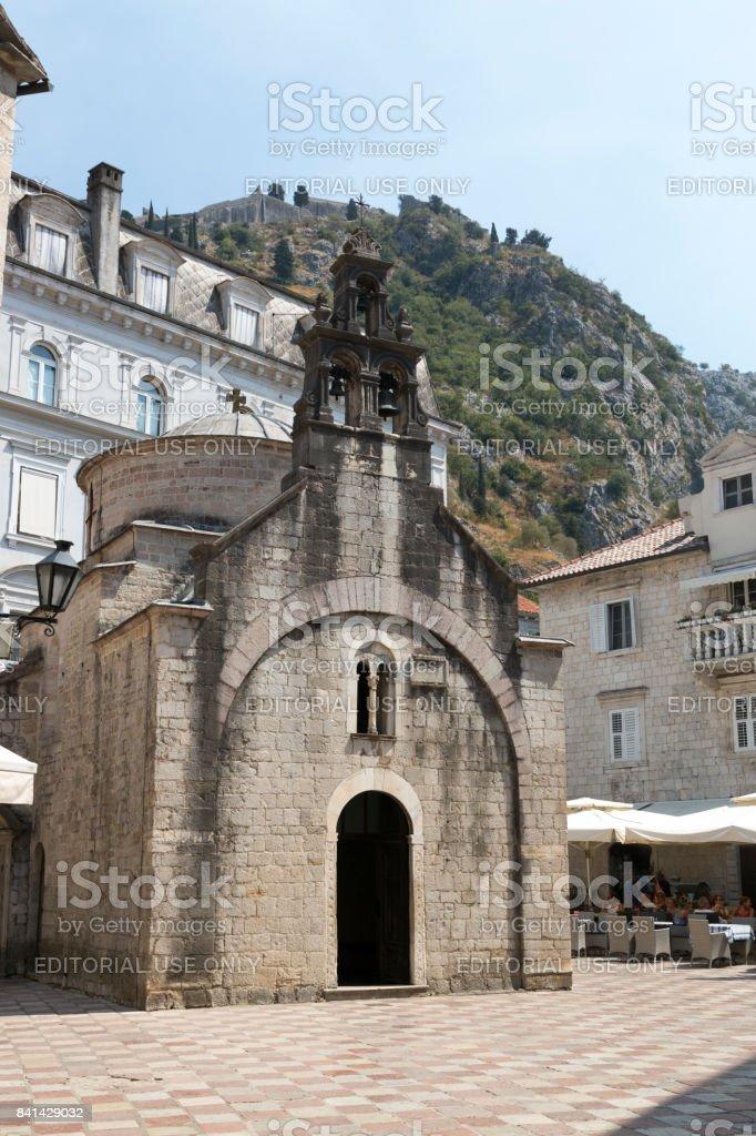 Church of St. Luke in the city of Kotor. stock photo