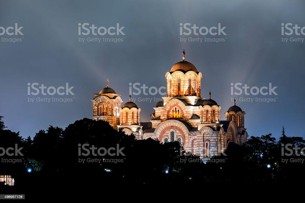 Church of St. Marco at night. Belgrade, Serbia stock photo