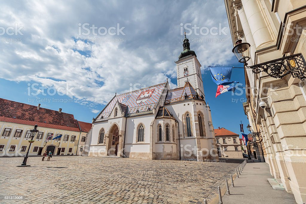 Church of St. Mark, Zagreb, Croatia stock photo