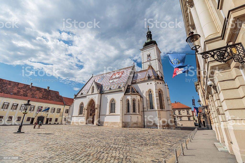 Church of St. Mark, Zagreb, Croatia stock photo