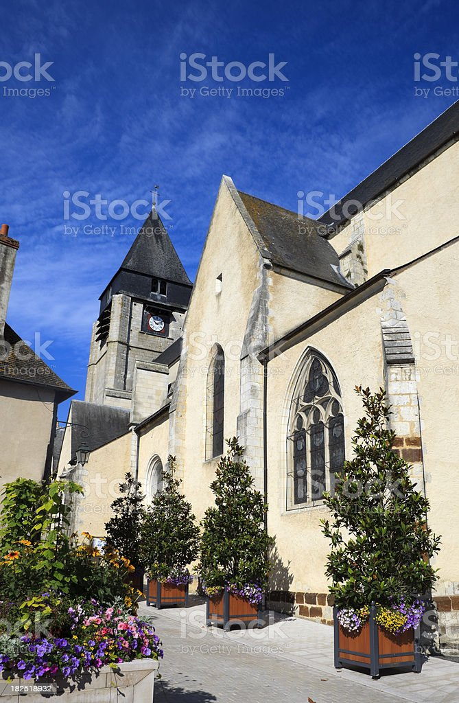 church of St. Martin's clock tower at Aubigny-sur-Nère royalty-free stock photo