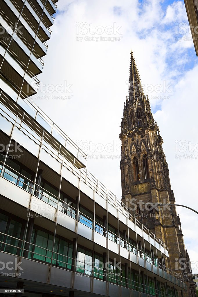 Church of St. Nicholas in Hamburg stock photo