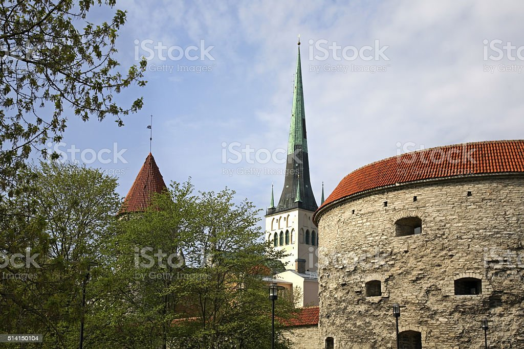 Church of St. Olaf and Fat Margaret tower. Tallinn. Estonia stock photo