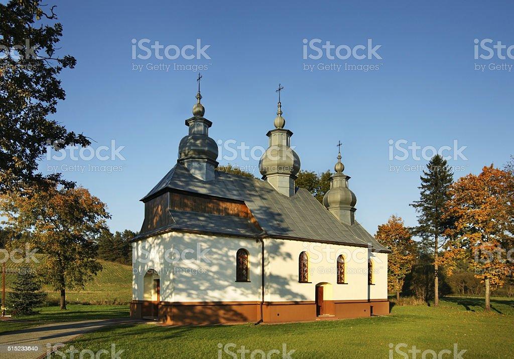 Church of St. Theodosius Pechersky in Malawa.  Poland stock photo