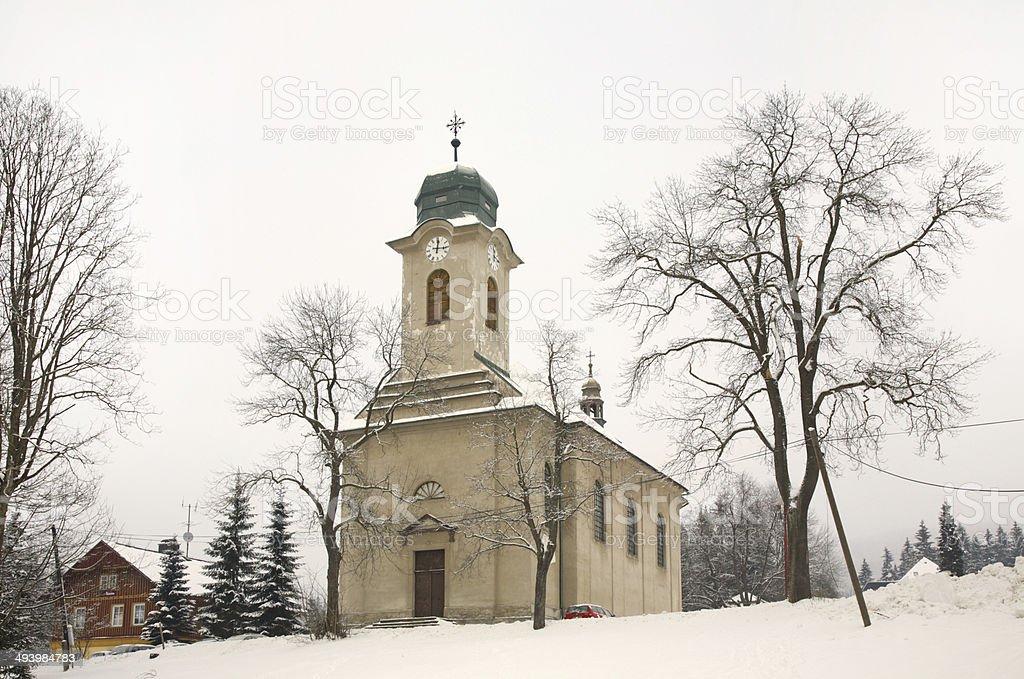 Church of St. Wenceslaus church in Harrachov. Czech Republic stock photo