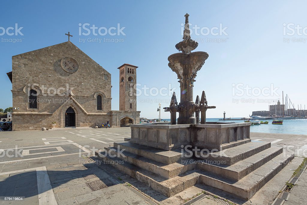 Church of the Annunciation and Roman Fountain in Rhodes stock photo