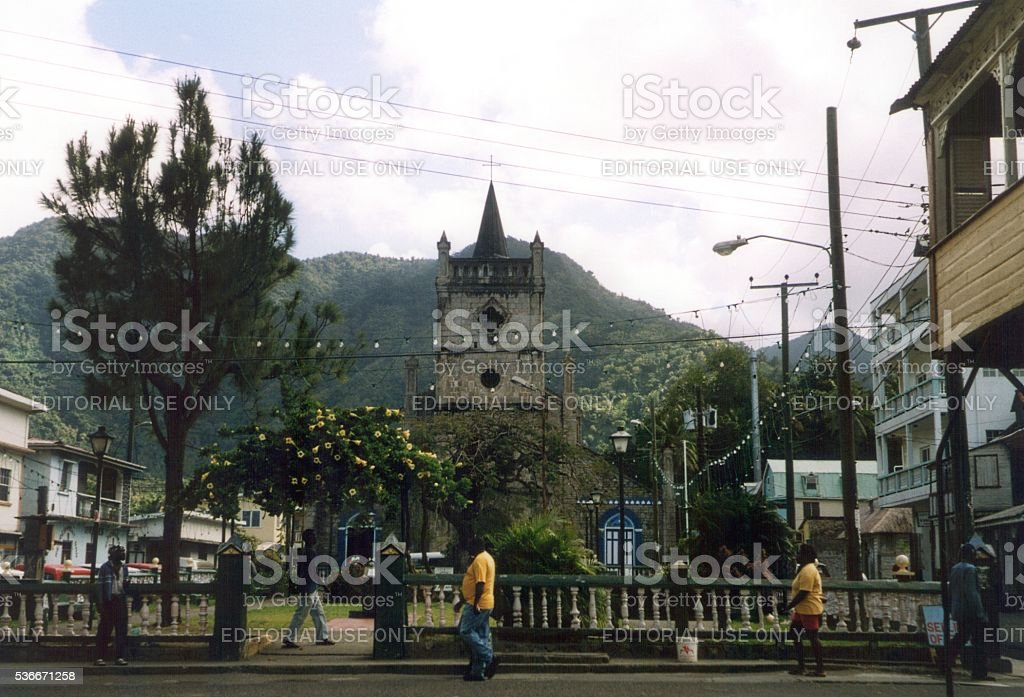 Church of the Assumption in Soufriere, Saint Lucia, Windward Islands stock photo