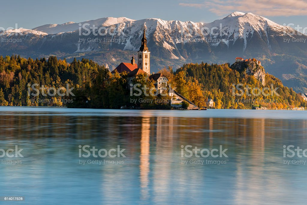 Church of the Assumption of Maria in Lake Bled, Slovenia stock photo