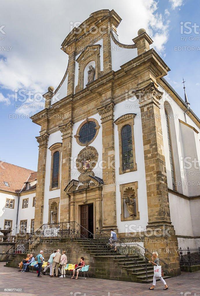 Church of the Franziskaner monastery in Paderborn stock photo