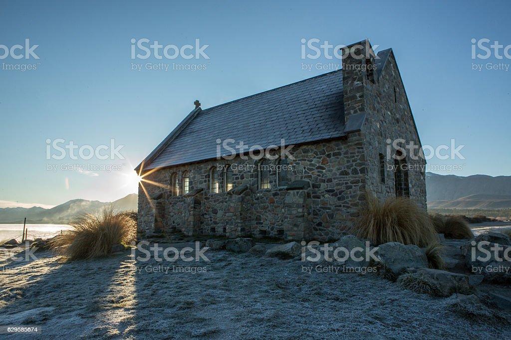 Church of the Good Shepherd and Lake Tekapo at sunrise stock photo