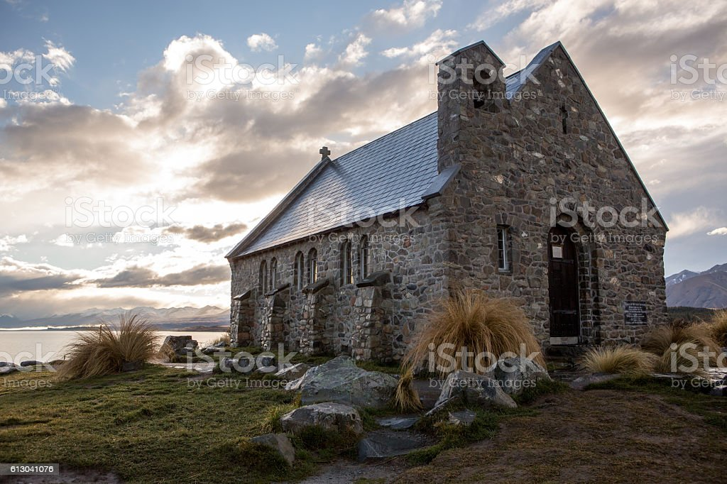 Church of the Good Shepherd and lake Tekapo stock photo
