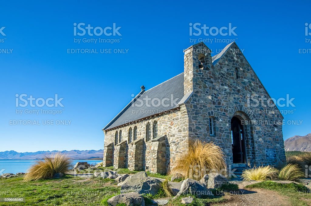 Church of the Good Shepherd at Lake Tekapo, New Zealand stock photo