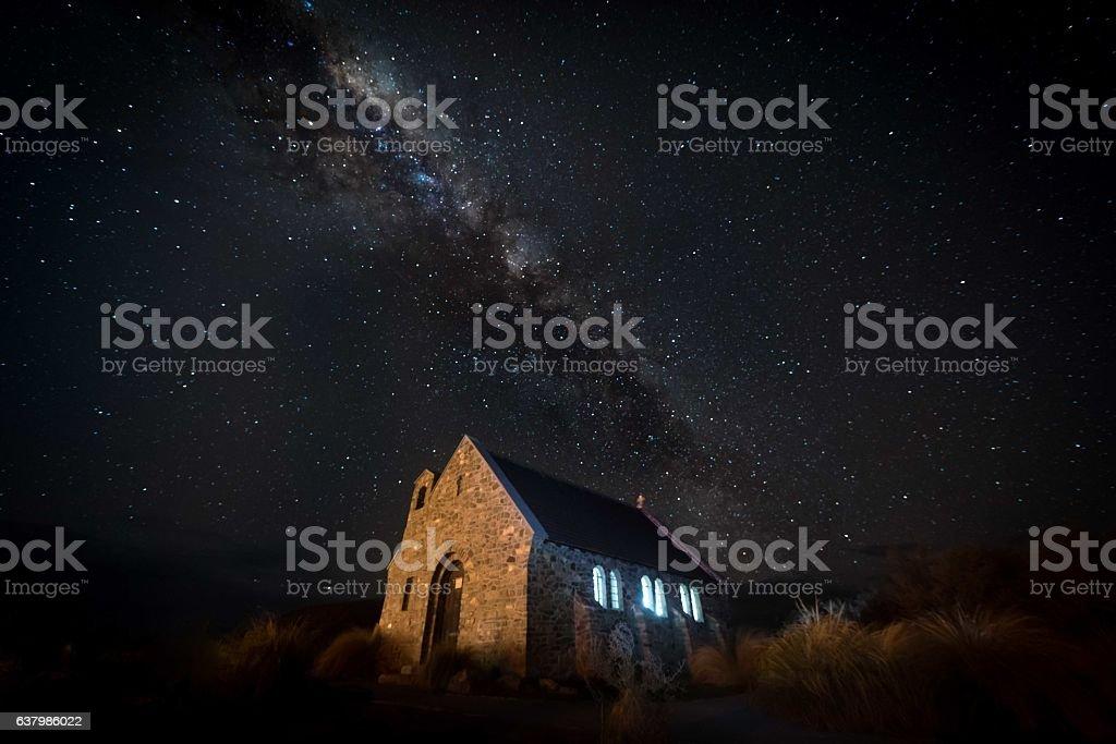 Church of the Good Shepherd at night stock photo