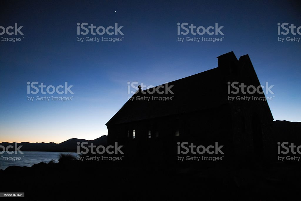 Church of the Good Shepherd Before Dawn, New Zealand stock photo