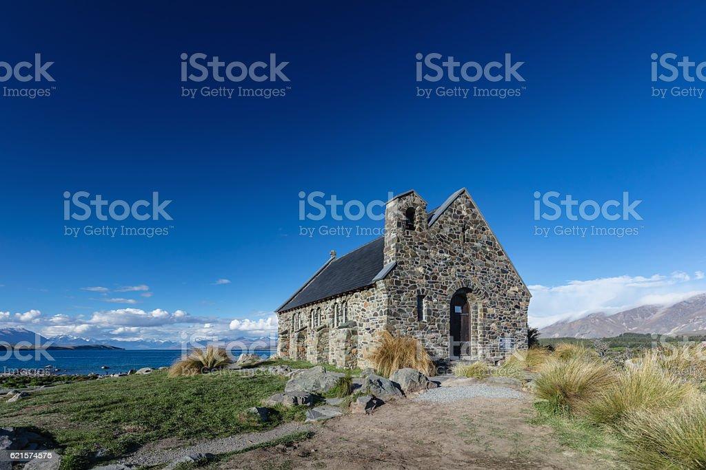 Church of the Good Shepherd Lake Tekapo New Zealand stock photo