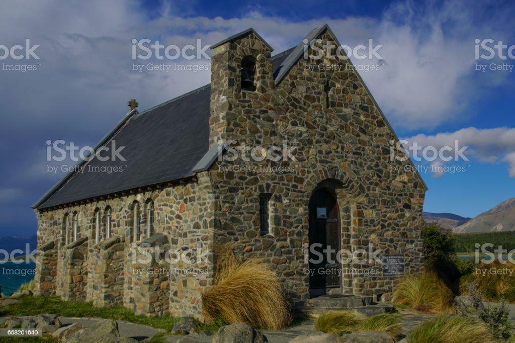 Church of the Good Shepherd on Lake Tekapo in New Zealand stock photo