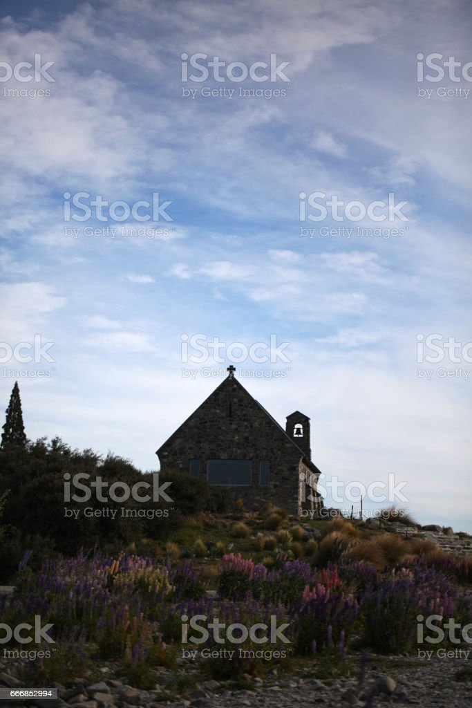 Church of the Good Shepherd Storm Clouds stock photo