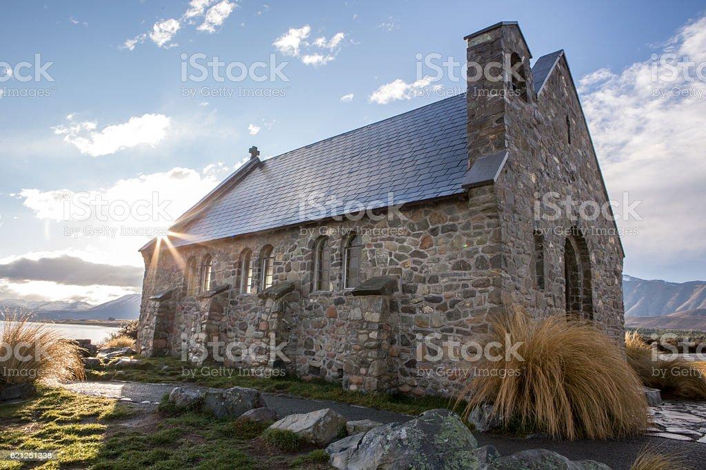Church of the Good Shepherd, sunbeam stock photo