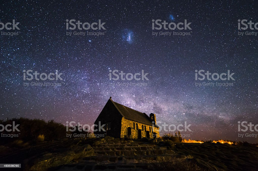 Church of the Good Shepherd with Milky-way stock photo