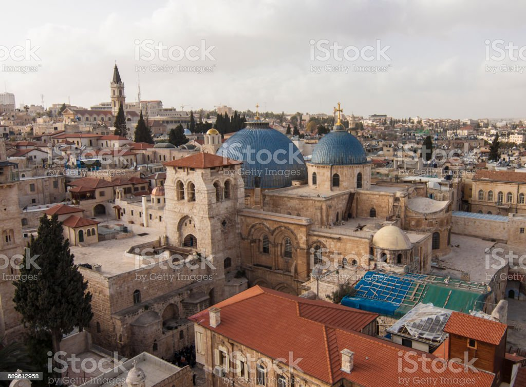 Church of the Holy Sepulchre in Jerusalem old city stock photo