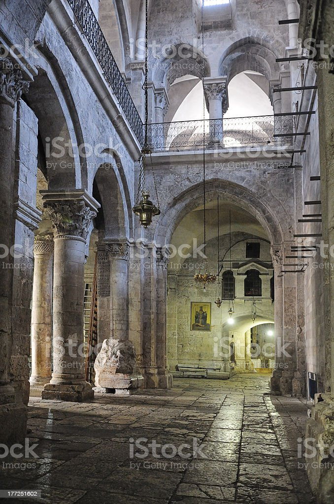 Church of the Holy Sepulchre, interior royalty-free stock photo