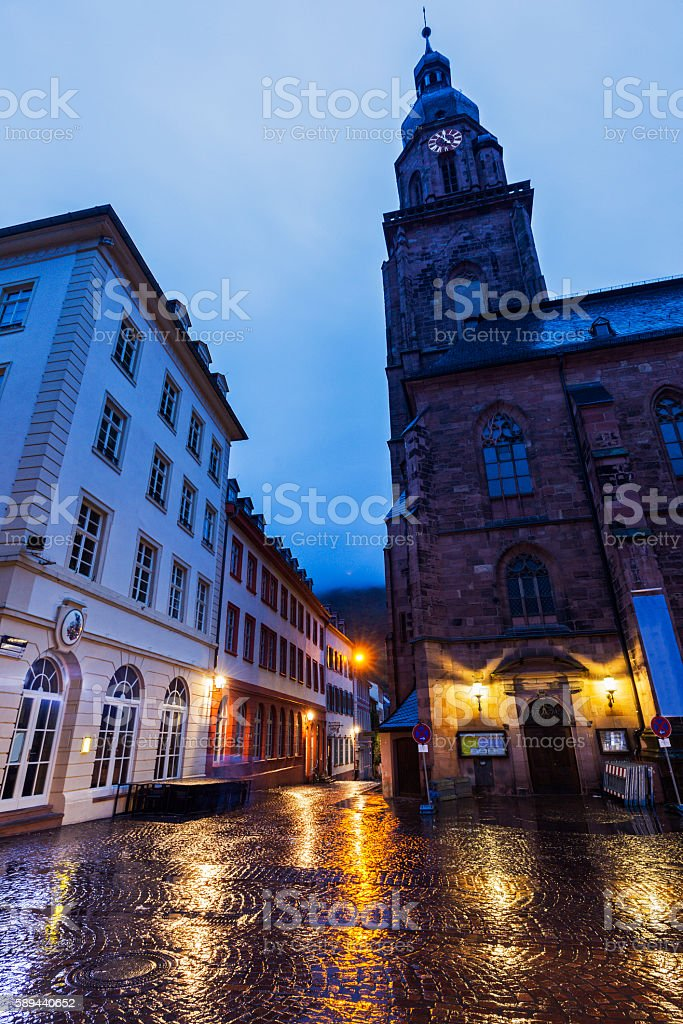 Church of the Holy Spirit on Marktplatz in Heidelberg stock photo